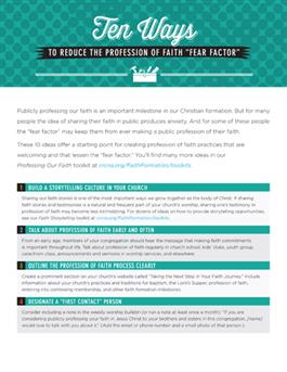 "Ten Ways to Reduce the Profession of Faith ""Fear Factor"""
