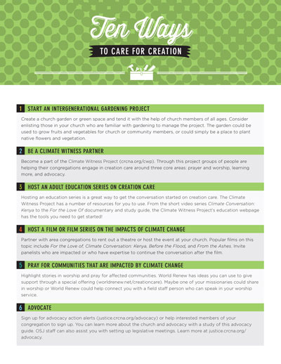Ten Ways to Care for Creation