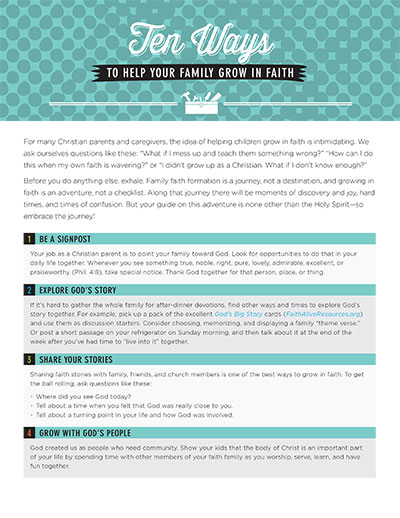 Ten Ways to Help Your Family Grow in Faith