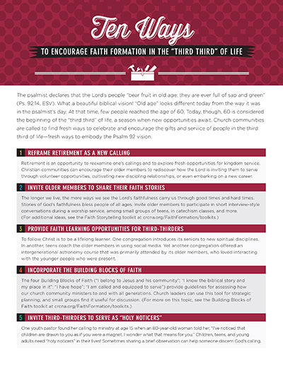 Ten Ways to Encourage Faith Formation in the