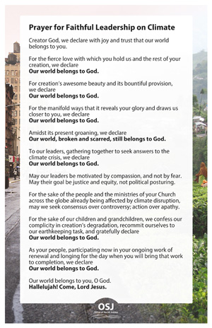 Prayer for Faithful Leadership on Climate Bulletin Insert